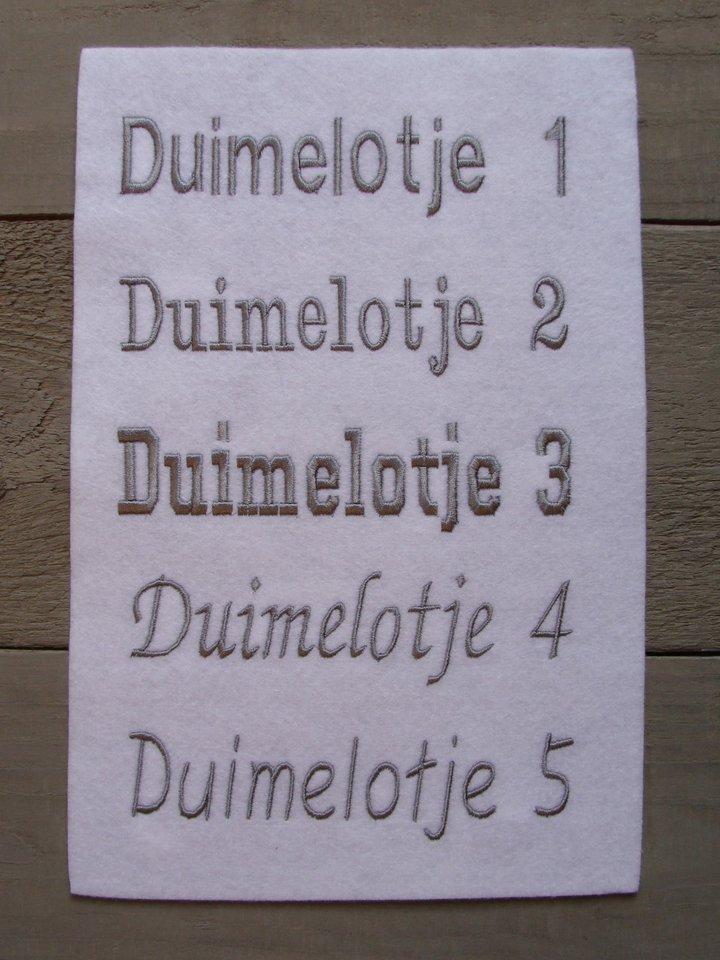 Keuzes Lettertype (bij borduurproducten)
