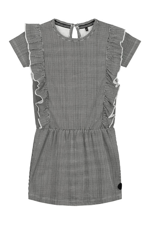 LEVV Dress -GEA S201 BLACK WHITE MINI STRIPE