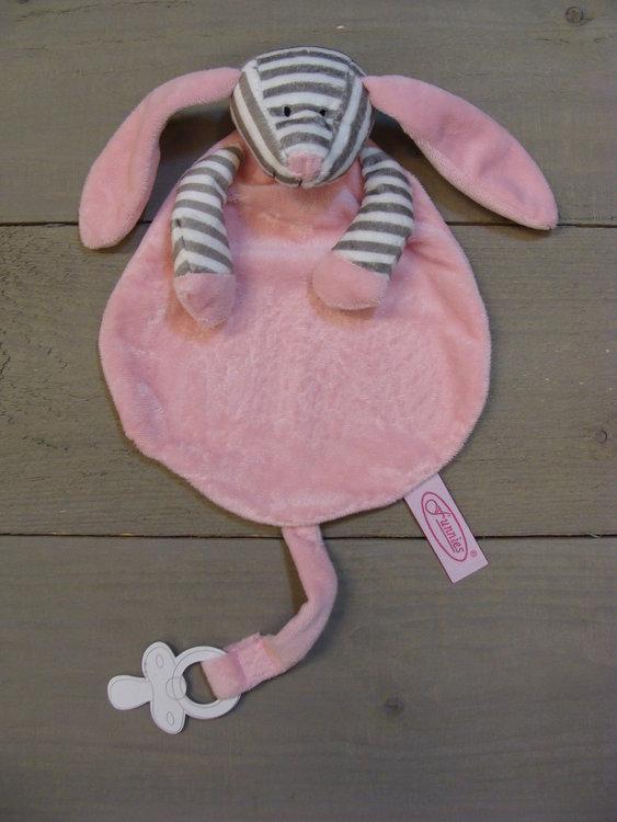 Speendoek Langoor roze gestreept
