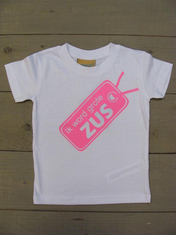 Shirtje Wit - Opdruk Roze