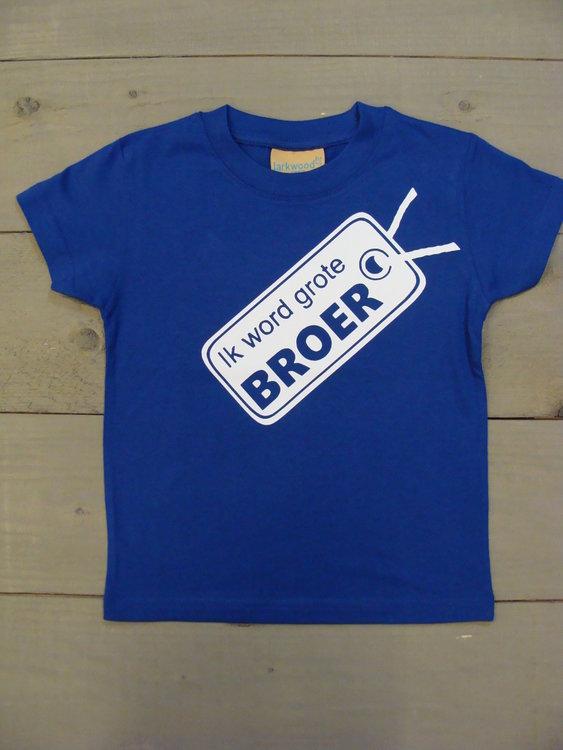 Shirtje Cobalt Blauw - Opdruk Wit