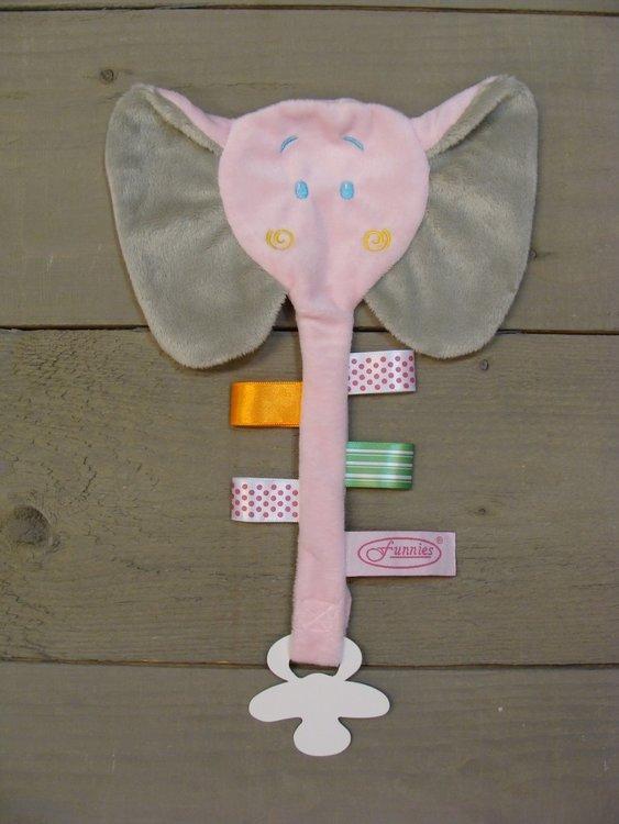 Label speendoekje Olifant roze