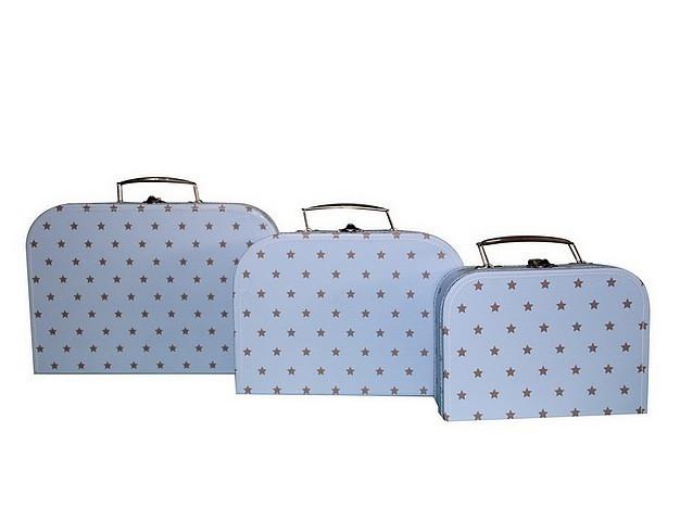 Koffertje Licht Blauw met zilveren sterretjes