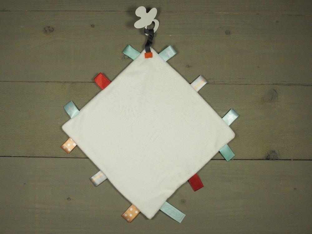 Label speendoekje 4kant wit