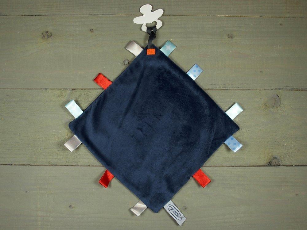 Label speendoekje 4kant navy
