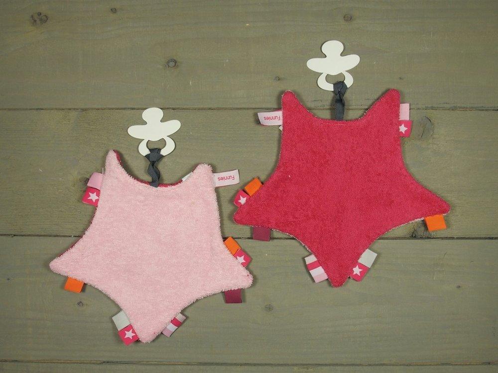 Label speendoekje Ster Roze-Fuchsia