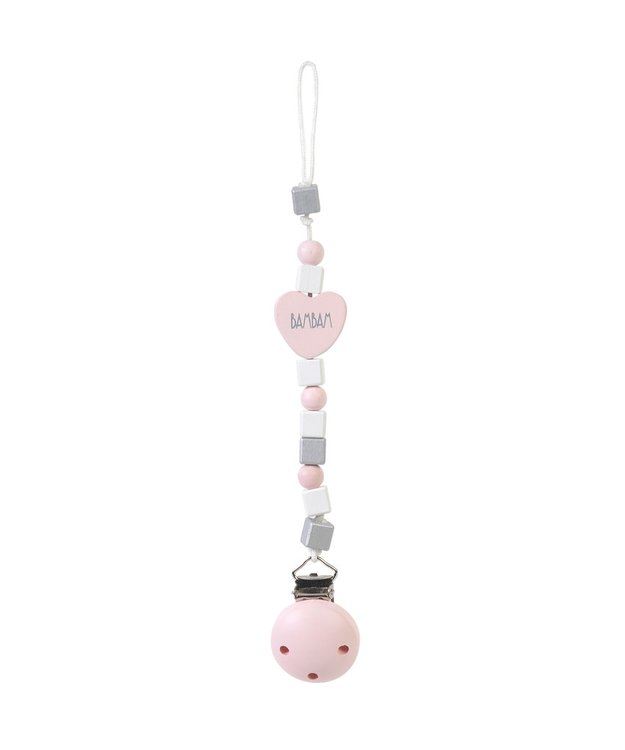 BamBam pacifier clip heart wood