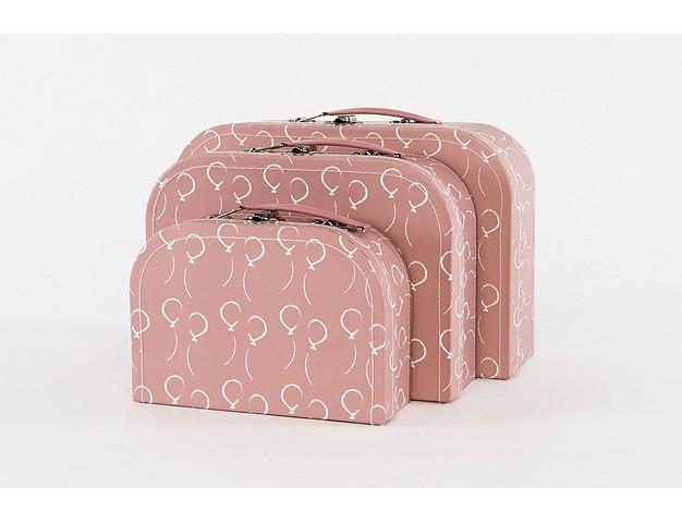Koffertje oud Roze met witte ballonnetjes