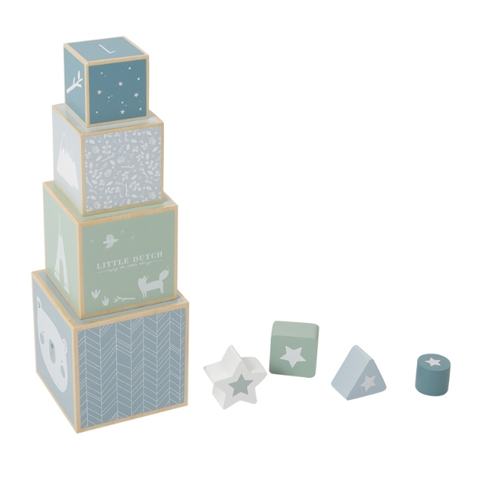 Little Dutch Houten stapelblokken adventure blue