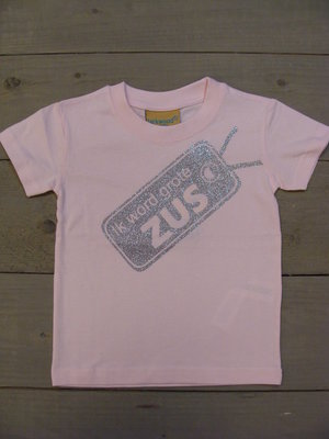 Shirtje Licht Roze - Opdruk Glitterzilver