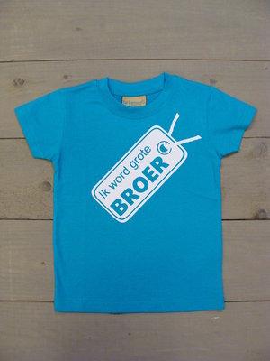 Shirtje Aqua Blauw - Opdruk Wit