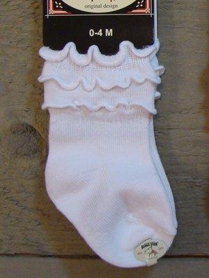 Frou-Frou Sock Baby White Bonnie Doon