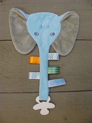 Label speendoekje Olifant blauw