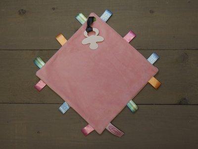 Label speendoekje 4kant roze