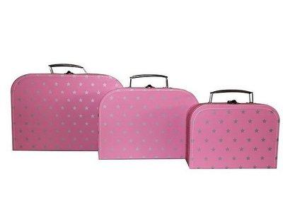 Koffertje Licht Roze met zilveren sterretjes
