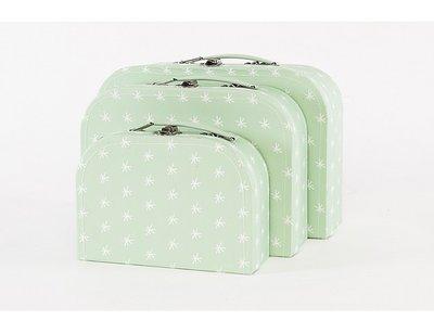 Koffertje Mint met witte sterretjes