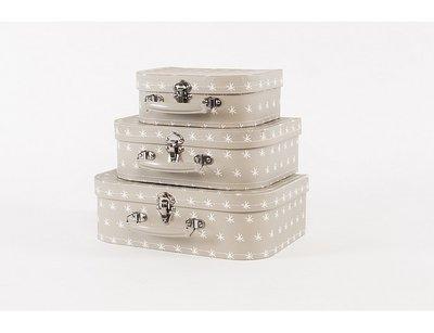 Koffertje Zilver-Taupe met witte sterretjes