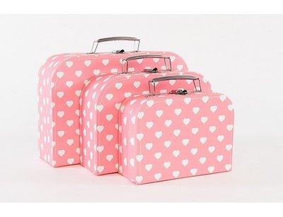 Koffertje Roze met witte hartjes