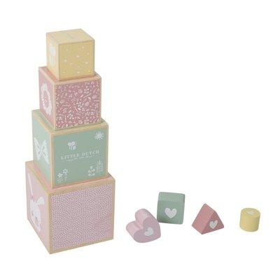 Little Dutch Houten stapelblokken adventure pink