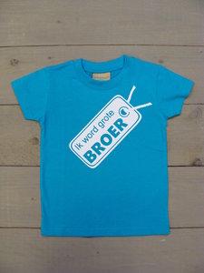 "Shirtje Aqua Blauw - Opdruk Wit ""grote broer"""