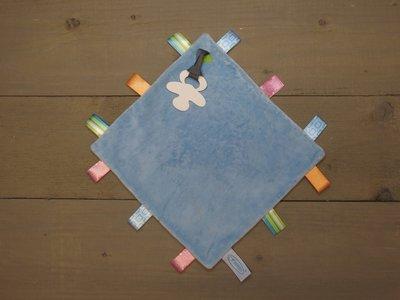 Label speendoekje 4kant blauw - in Spenen