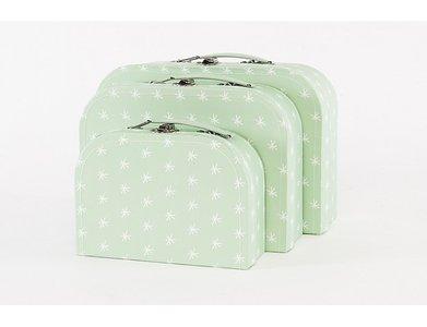 Koffertje Mint met witte sterretjes - in Babykameraankleding