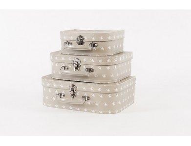 Koffertje Zilver-Taupe met witte sterretjes - in Babykameraankleding