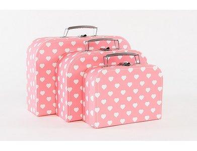 Koffertje Roze met witte hartjes - in Babykameraankleding